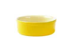 Yellow souffle dish. Small empty yellow souffle dish royalty free stock images