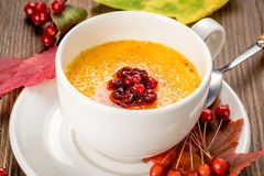Yellow soup decorated with rowan in a white plate stock image