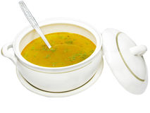 Yellow soup in tureen Royalty Free Stock Photos