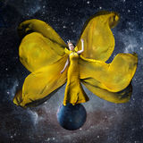 Yellow space queen. Beautiful woman in a Royalty Free Stock Photography