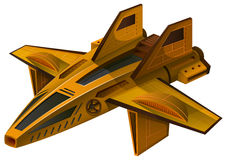 Yellow spaceship with wings Royalty Free Stock Photo