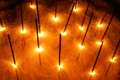 Yellow sparklers Stock Photo