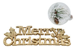 Yellow sparkley Merry Christmas write, letters with Christmas globe filled with pine spikes and snow flakes Stock Image
