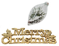 Yellow sparkley Merry Christmas write, letters with Christmas globe filled with pine spikes and snow flakes Stock Photos