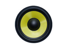 Yellow speaker. Yellow audio speaker isolated on white background Royalty Free Stock Images