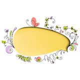 Yellow speech bubble with floral elements Stock Photo