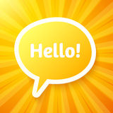 Yellow speech bubble with sign Hello! Stock Photo