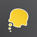 Yellow speech bubble for thoughts at skull shape. Vector illustration. Yellow comic speech bubble for thoughts at skull shape with white contour. Empty shape in Royalty Free Stock Image