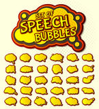 Yellow speech bubbles, pop art style. Colored 3d stickers Royalty Free Stock Image