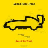 Speed car track. Yellow speed race track map in car silhouette Royalty Free Stock Photo