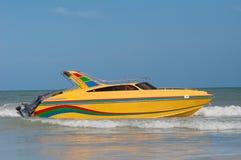 Yellow speedboat Royalty Free Stock Photography