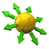 Yellow sphere and green arrows Royalty Free Stock Images