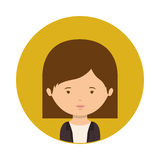 Yellow sphere of half body woman with short hair Stock Image