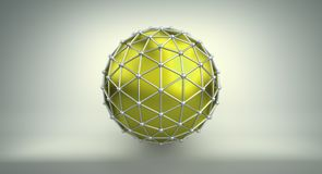Yellow sphere and polygonal wireframe 3D illustration. Yellow sphere shape and polygonal metalic wireframe. Abstract 3D illustration rendered with DOF Stock Image