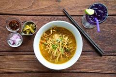 Yellow spicy noodle thai food khao soi Stock Photos