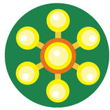 Yellow spinner with balls on blades Stock Photography