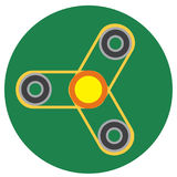 Yellow spinner with transparent center a flat style. Vector image on a round dark greenbackground. Element of design, interface Royalty Free Stock Photography