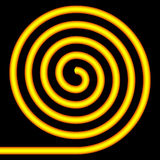 Yellow spiral. Yellow spiral on a black background Royalty Free Stock Photos