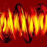 Yellow spiral pipes in 3D. Hot spiral pipes in 3D on red background Stock Images