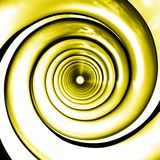 Yellow spirals perspective. Yellow spirals illustration made in 3D. Highly detailed with soft clouds reflection on the surface Royalty Free Stock Images