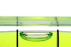 Yellow spirit level , macro image on white background. Stock Photo