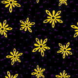 Yellow splash flowers seamless pattern Royalty Free Stock Photo
