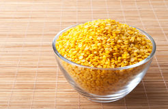 Yellow split lentils Stock Photo