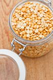 Yellow split lentils in a glass jar Stock Photography
