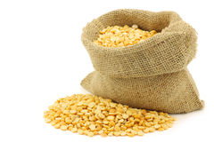 Yellow split peas in a burlap bag Royalty Free Stock Photo