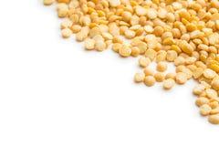 Yellow split peas. Yellow split peas isolated on white background royalty free stock photo