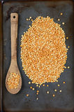 Yellow Split Peas and Spoon Royalty Free Stock Images