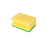 Yellow sponge. On white background stock photos