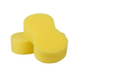 Yellow sponge for car washing  Royalty Free Stock Images