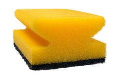 Yellow sponge. For cleaning isolated on white background Royalty Free Stock Photo