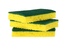 Yellow sponge scrubbers. Yellow sponge with green scrubber attached isolated on white background Stock Image