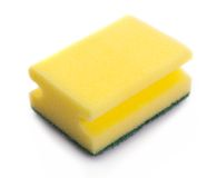 Yellow sponge on white Stock Photo