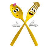 Yellow Spoon fork character on welcome pose Stock Images
