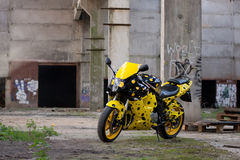 Yellow sport bike Stock Photo