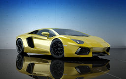 Yellow sport car. 3d render of luxury sport car Royalty Free Stock Photo