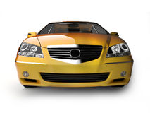 Yellow sport car front view. Very bottom view of yellow dynamical car. For more views and colors of this car please visit my portfolio Royalty Free Stock Photography