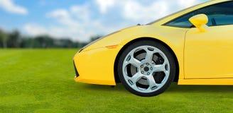 Yellow Sport Car on green grass, Digital illustrat Royalty Free Stock Photography