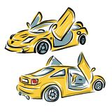 Yellow sport car with lamba doors for your design Stock Image