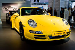 Yellow Sport Car Parsche Carrera Royalty Free Stock Photo