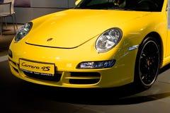 Yellow sport car Parsche Carrera Royalty Free Stock Photography