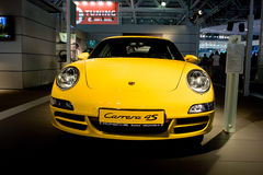 Yellow sport car Parsche Carrera Royalty Free Stock Images