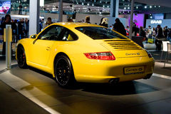 Yellow Sport Car Parsche Carrera Royalty Free Stock Photography
