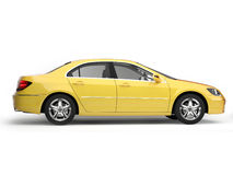 Yellow sport car side view Stock Photos