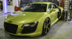 Yellow sport car. 11th Car and Motorcycle Tuning Show in Hungexpo, Budapest, Hungary. Photo taken to: March 19th, 2016 Royalty Free Stock Photos