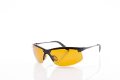 Yellow sport polarized sunglasses Royalty Free Stock Image