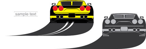 Yellow sportcar Royalty Free Stock Images